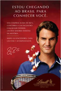 Lindt leva 20 clientes para conhecer Roger Federer